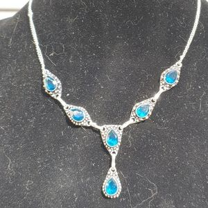 Silver Plated and London Blue Topaz Necklace